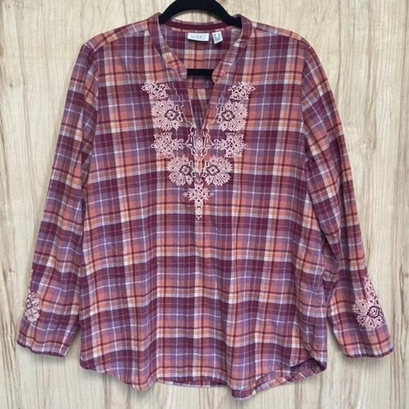 LOGO plaid flannel long sleeve tunic size 14